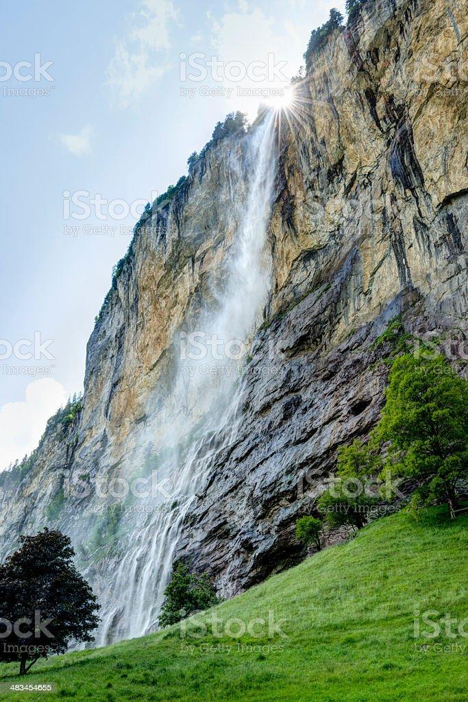Staubbach Falls in the Lauterbrunnen Valley, Switzerland stock photo
