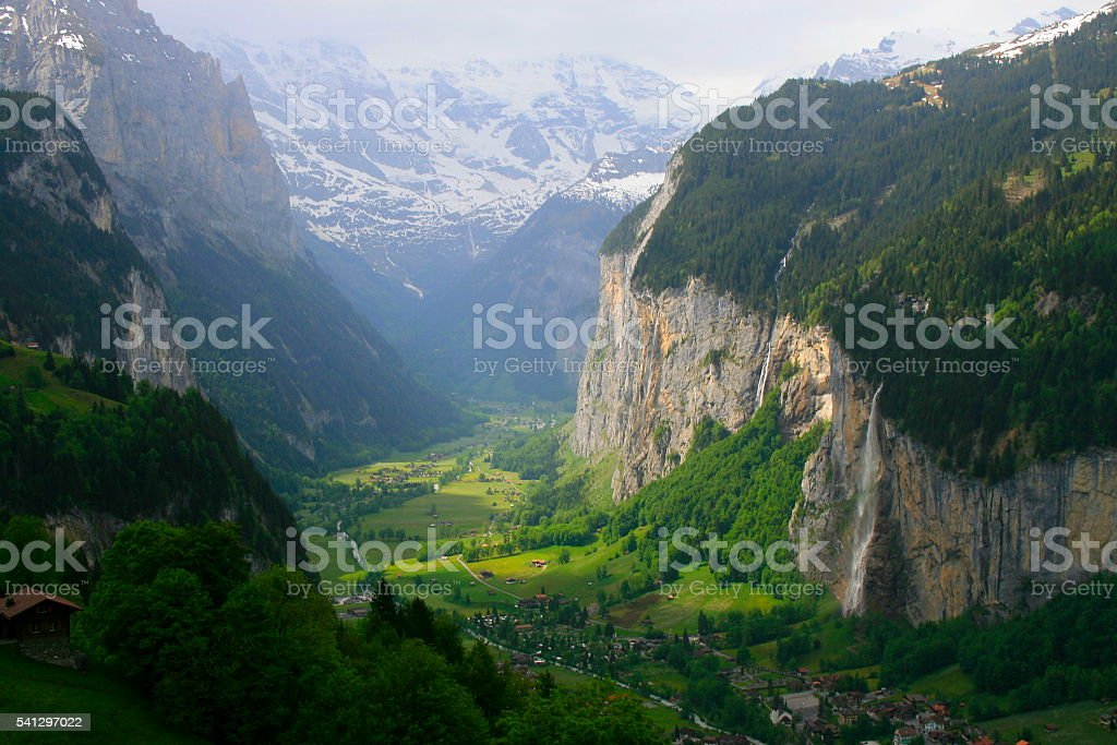Staubbach falls, Lauterbrunnen idyllic Valley alpine countryside, Swiss Alps, Wengen stock photo