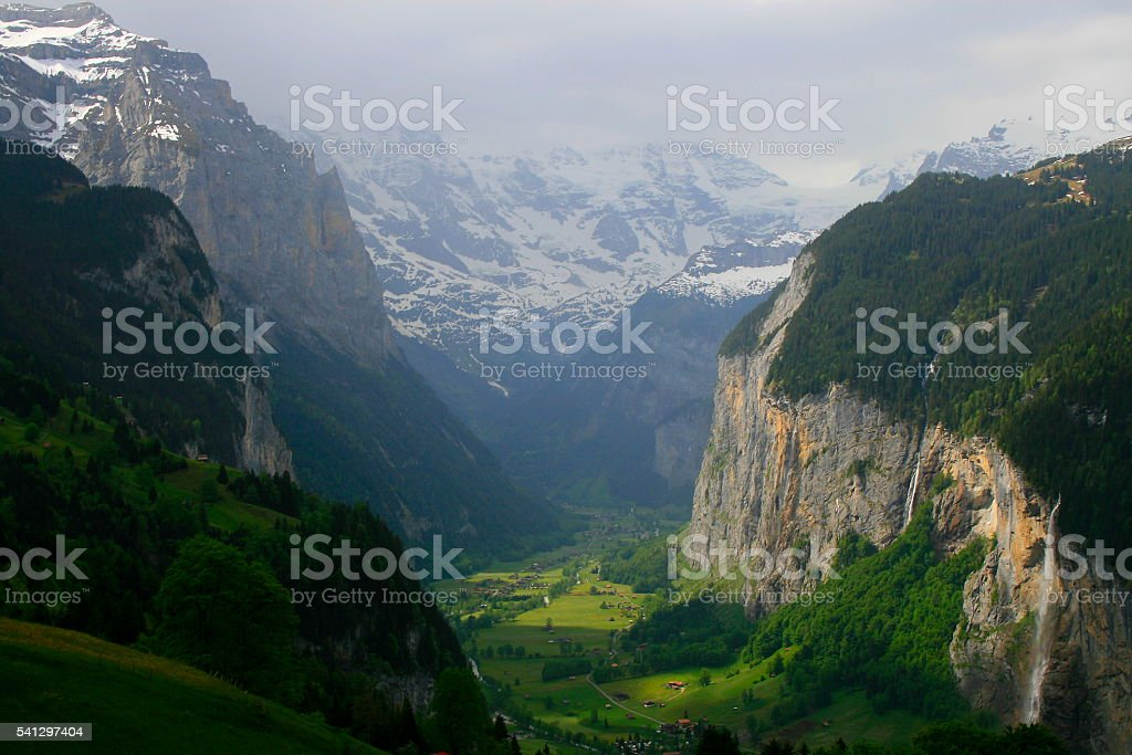 Staubbach falls, Lauterbrunnen idyllic Valley alpine countryside, Swiss Alps, Wengen stock photo