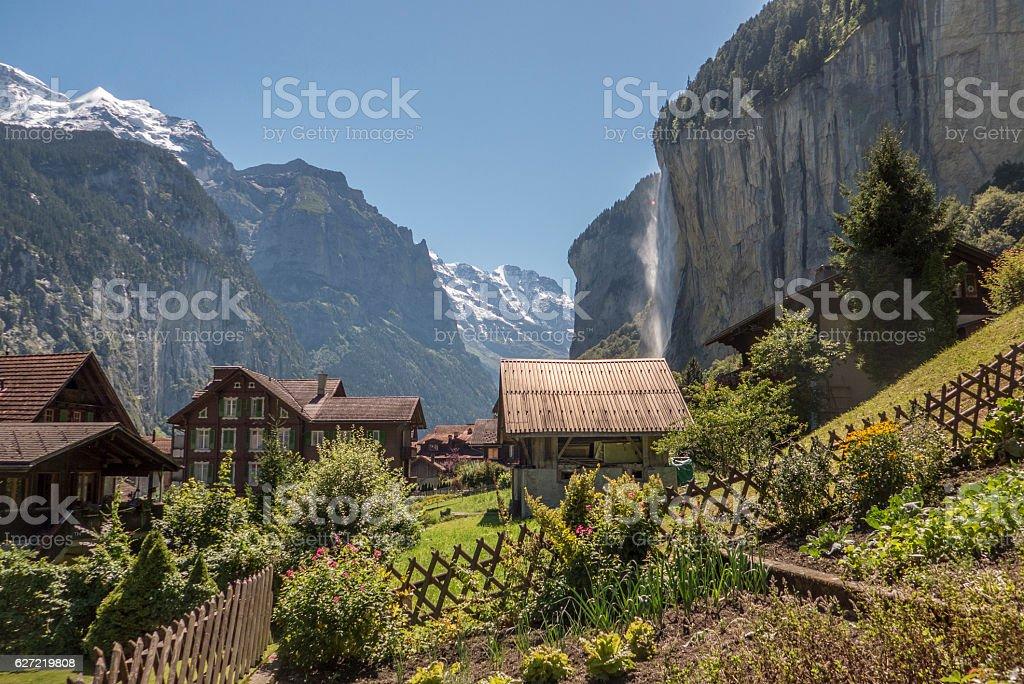 staubbach falls, lauterbrunnen, switzerland stock photo