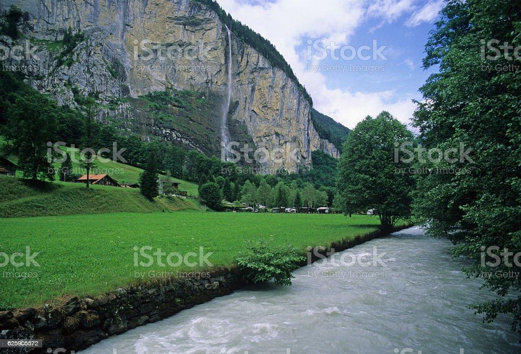 Staubbach Falls near Lauterbrunnen, Switzerland stock photo