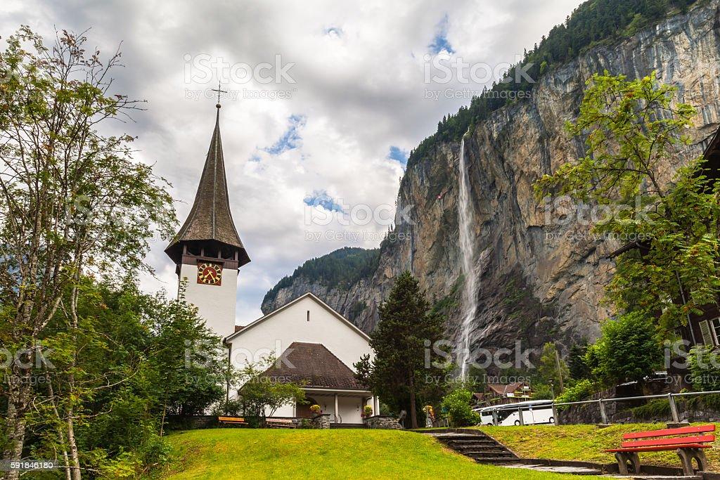 Staubbachfall waterfall in Lauterbrunnen valley stock photo