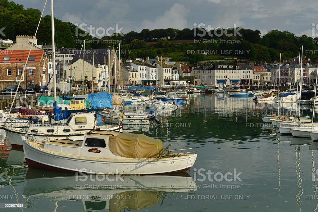 St.Aubin harbour, Jersey, U.K. stock photo