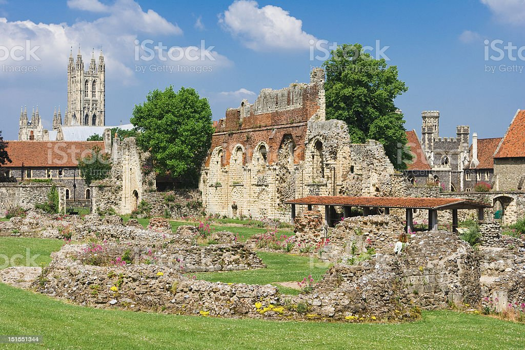 St.Augustines Abbey  with Canterbury Cathedral in the background, England stock photo
