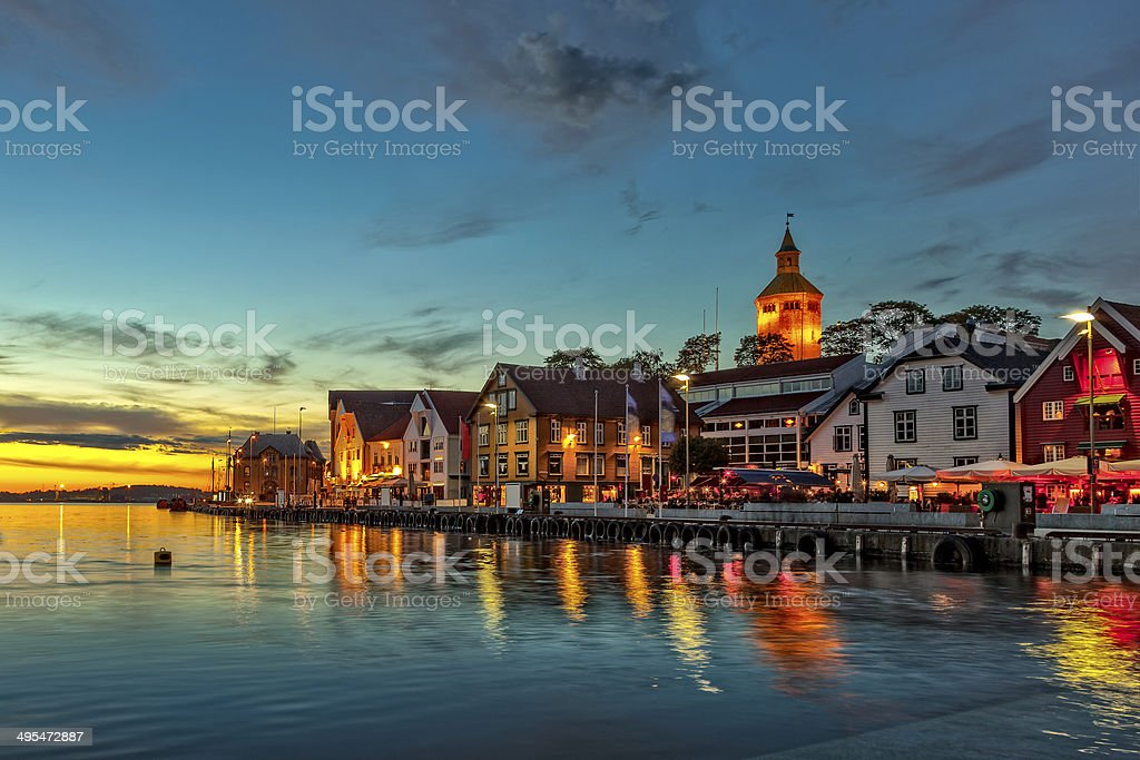 Stavanger at night stock photo