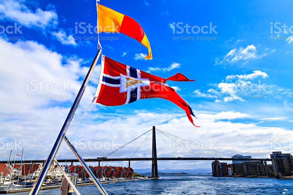 Stavanger City Bridge: view from ship stock photo