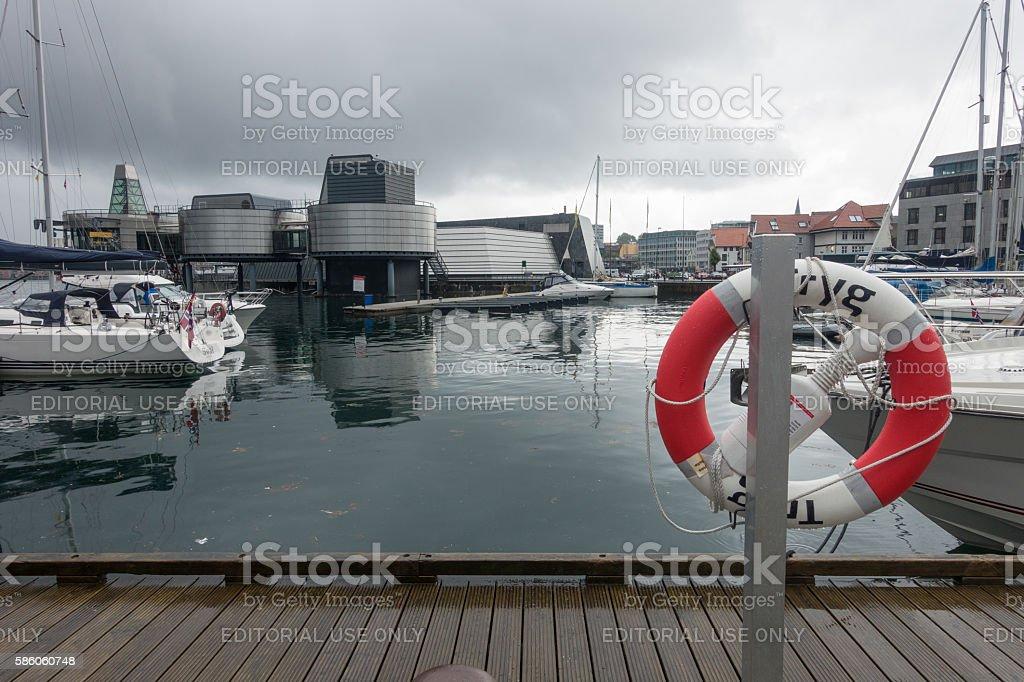 Stavanger Norway city centre harbour view stock photo