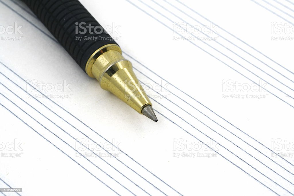 stave and ballpoint pen stock photo