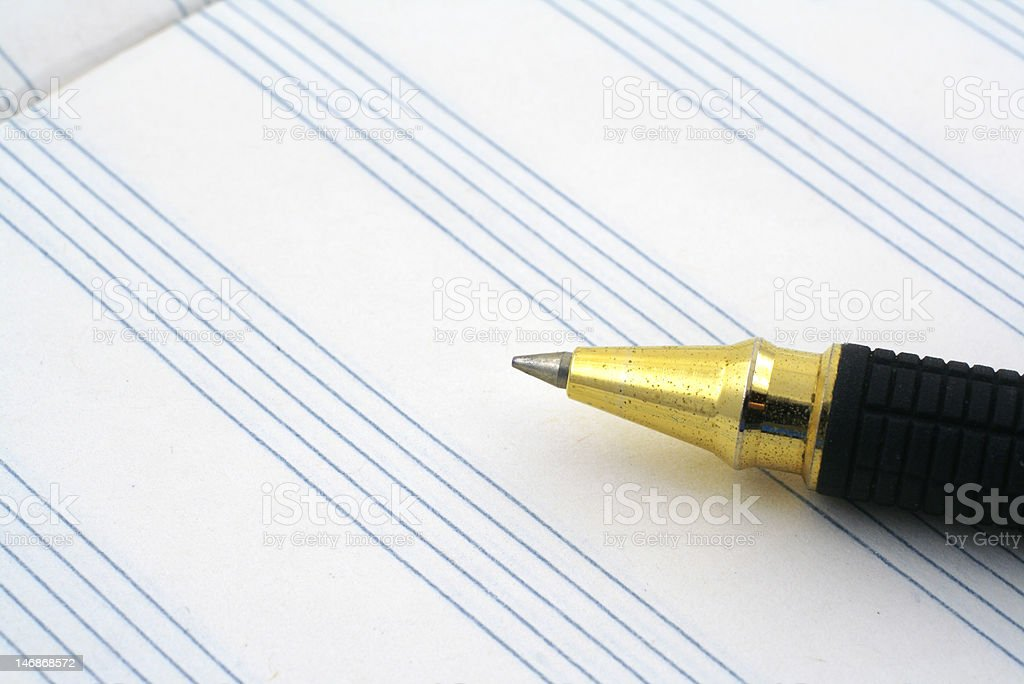 stave and ballpoint pen tip royalty-free stock photo
