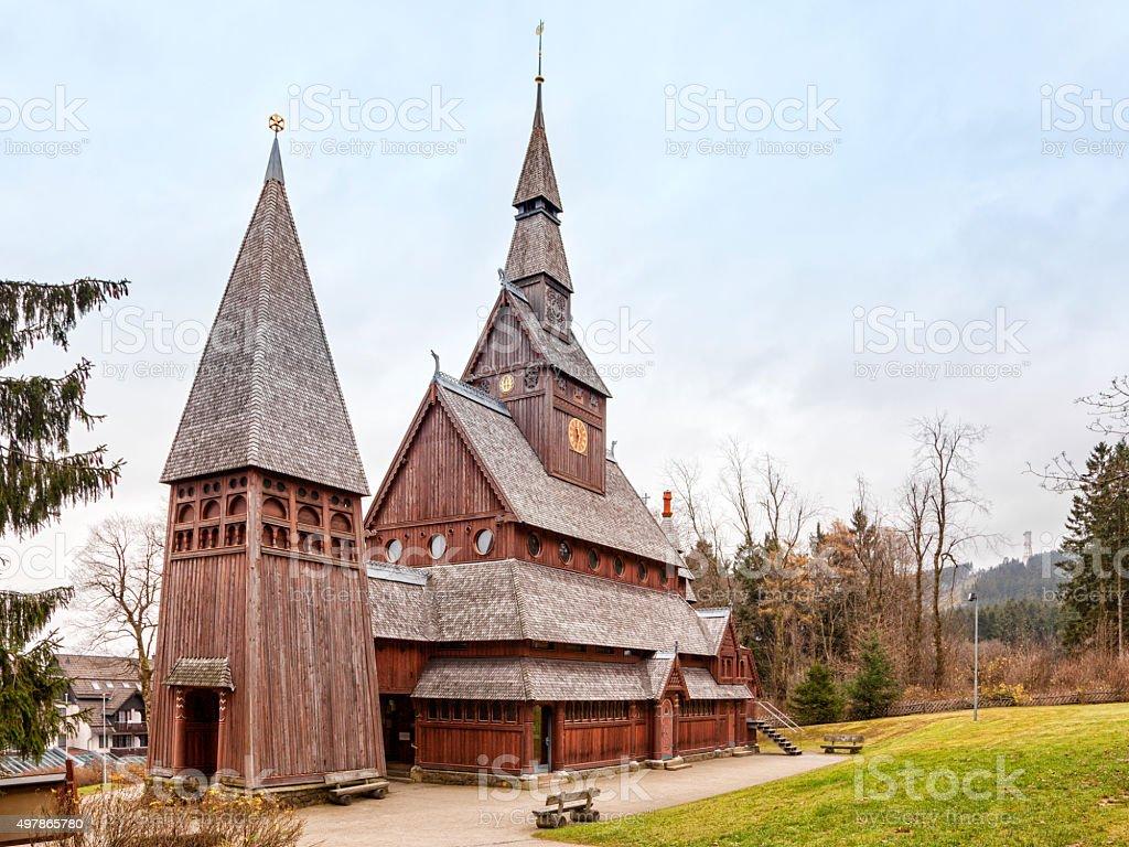 Stave church at Hahnenklee, Harz region stock photo