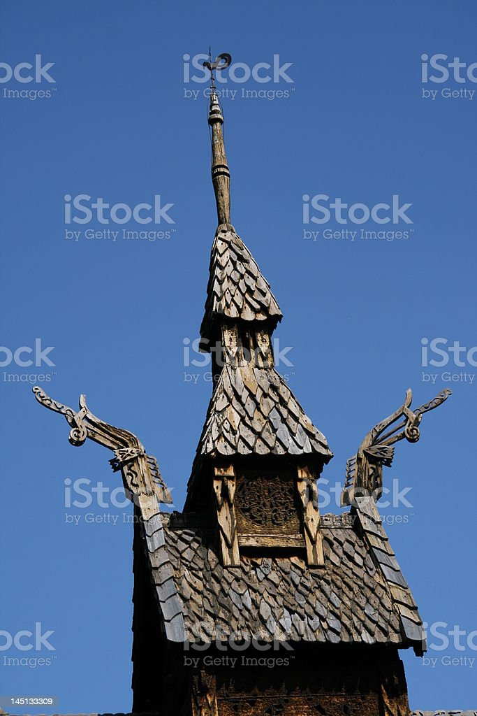 Stave church close-up royalty-free stock photo