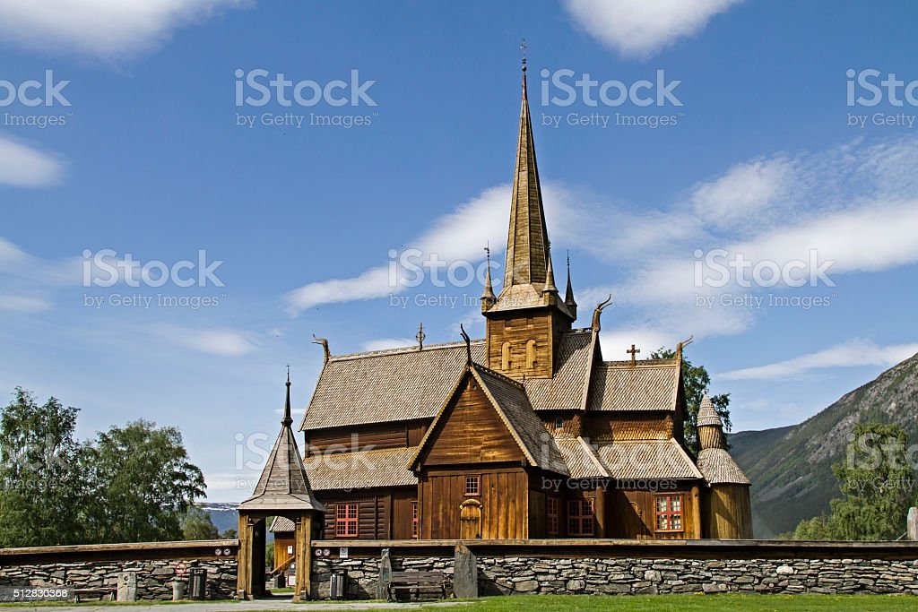 Stave Church in Lom stock photo