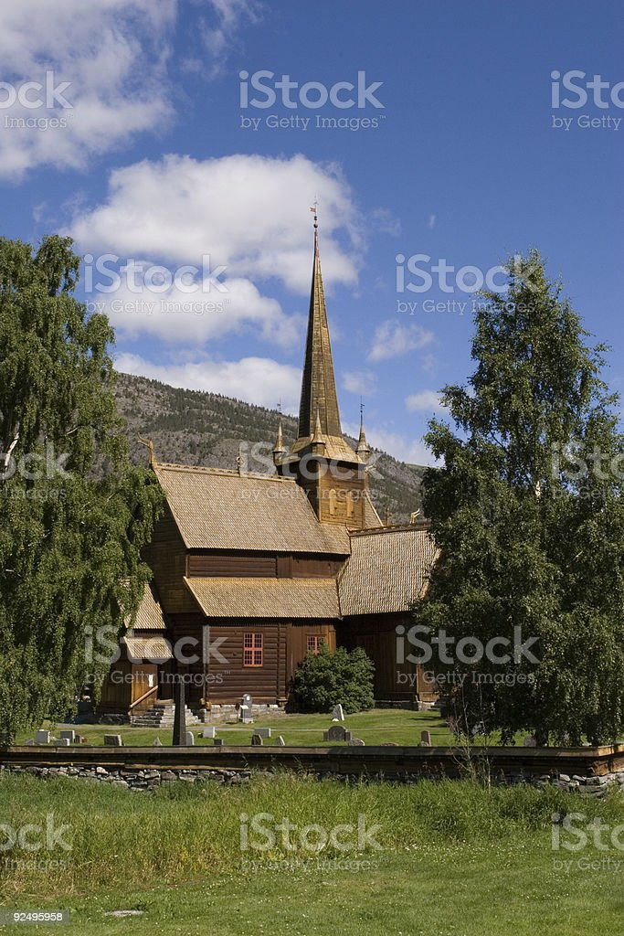 Stave Church of Lom (Norway). (2) royalty-free stock photo