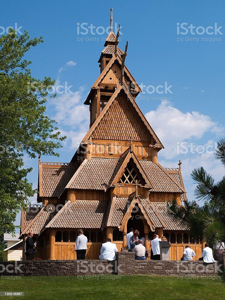 Stave church stock photo