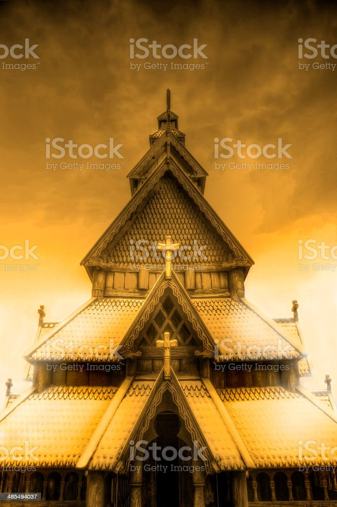 Stave Church royalty-free stock photo