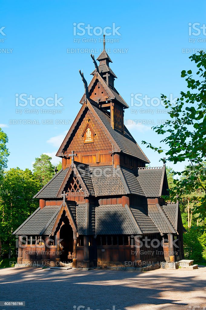 Stave Church stock photo