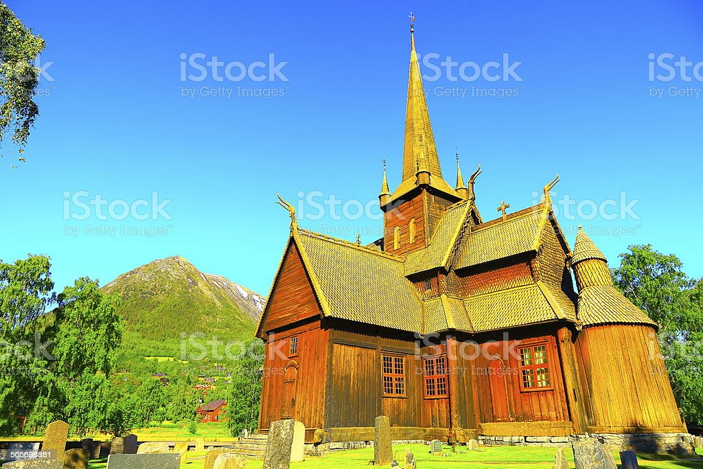 Stave wooden Church: Stavkirke of Lom, Norway stock photo