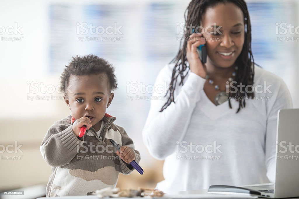 Stay at Home Mother Growing a Business stock photo
