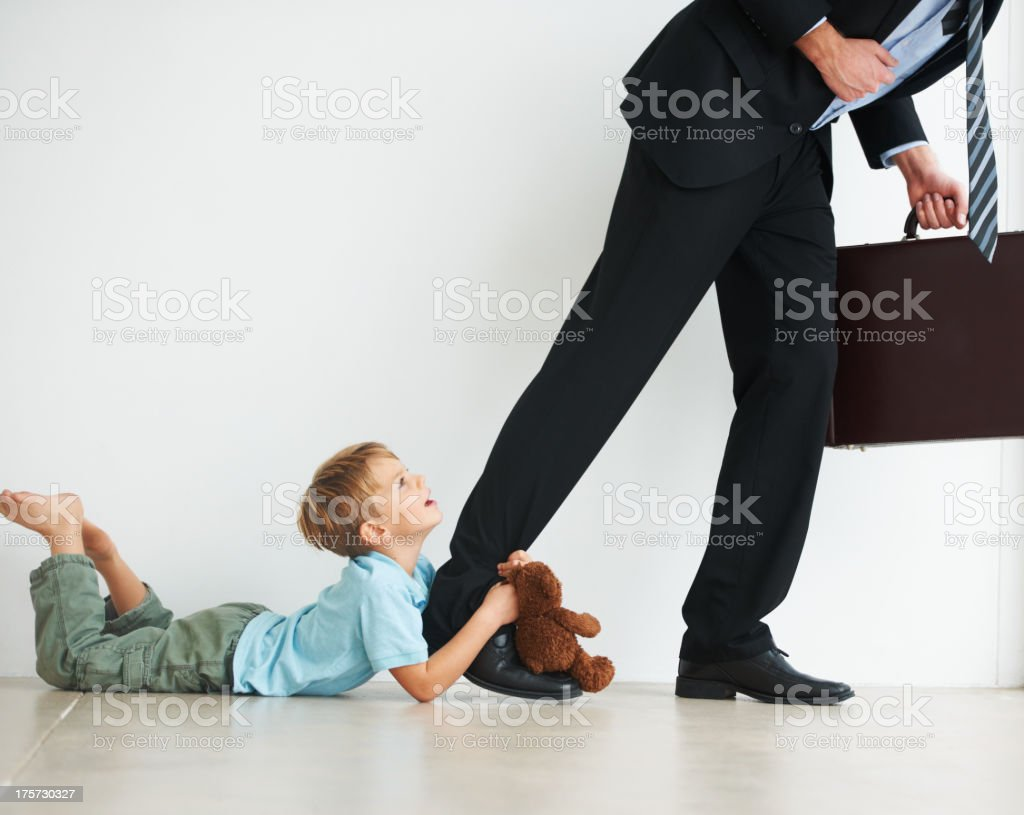 Stay at home with me daddy! stock photo