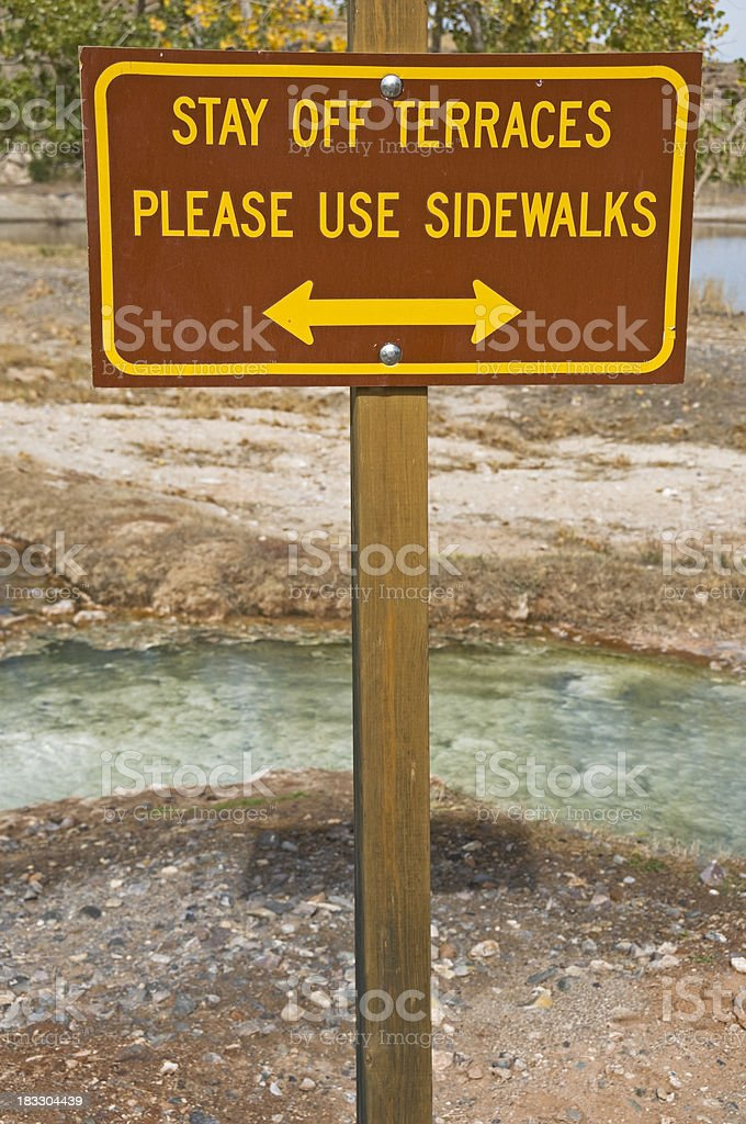 Stay off terraces of hot springs stock photo
