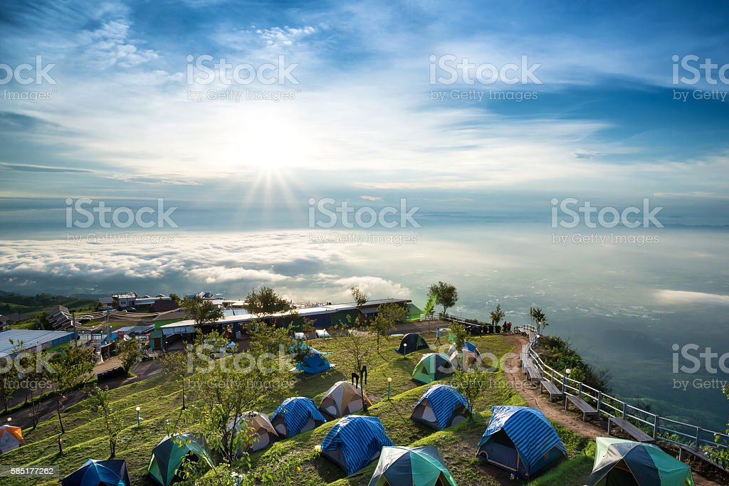 Stay on top of his tent, Phu Tub Berk. stock photo