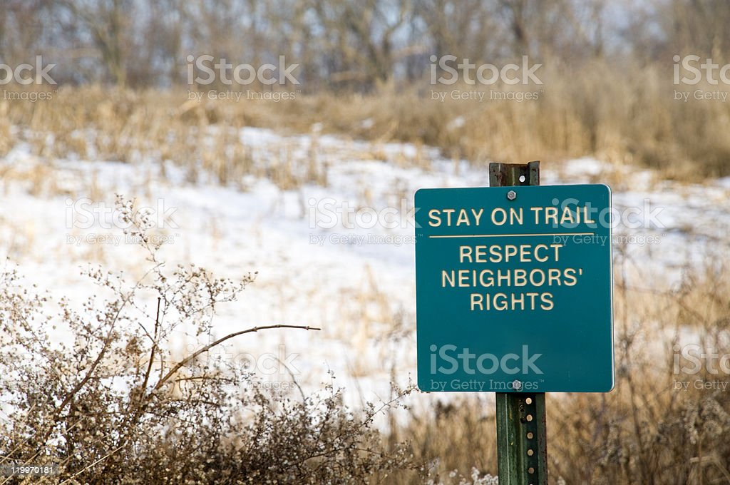 Stay on Trail Sign in Ohio royalty-free stock photo