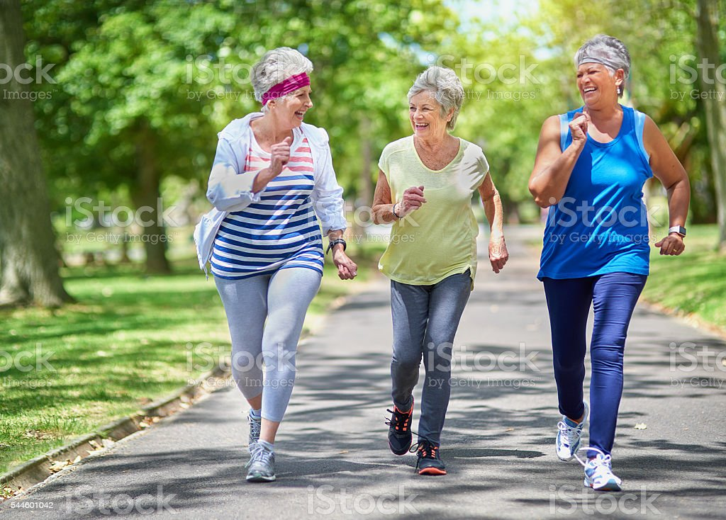Staying active is key to healthiness and happiness stock photo