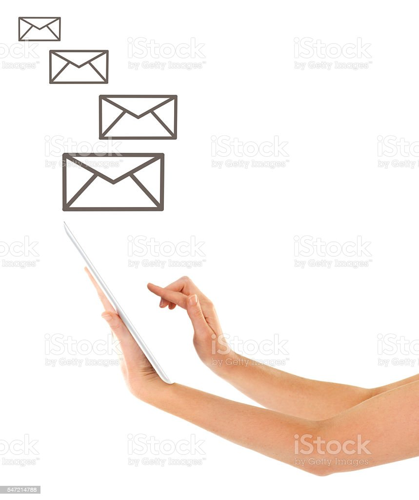 Staying connected in one touch stock photo