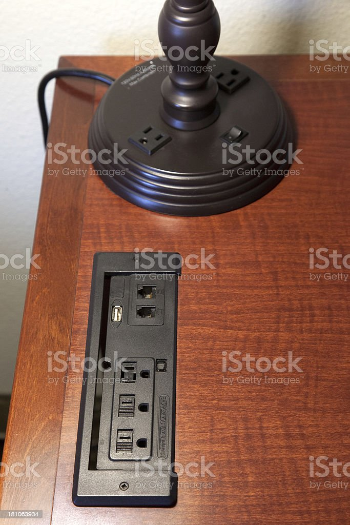 Staying connected with cat 5, fax, USB and power outlets royalty-free stock photo