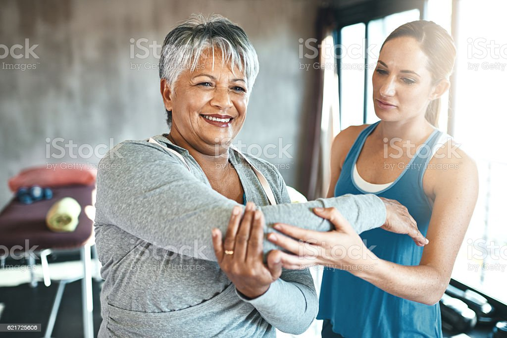 Staying fit improves her health and outlook on life stock photo