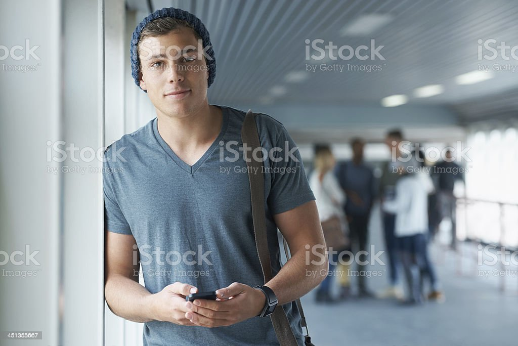 Staying in touch on campus stock photo