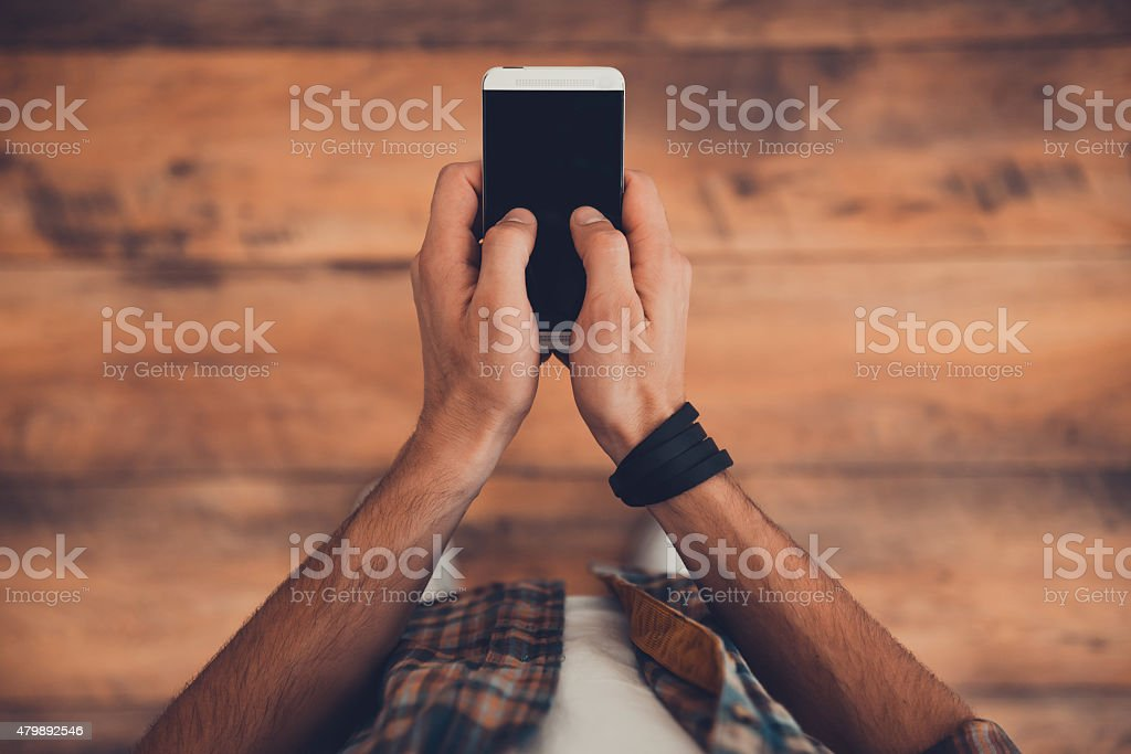 Staying in touch. stock photo