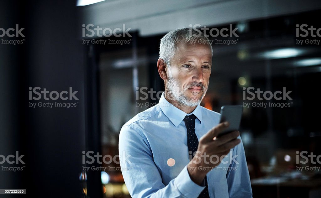 Staying in touch right through the night stock photo