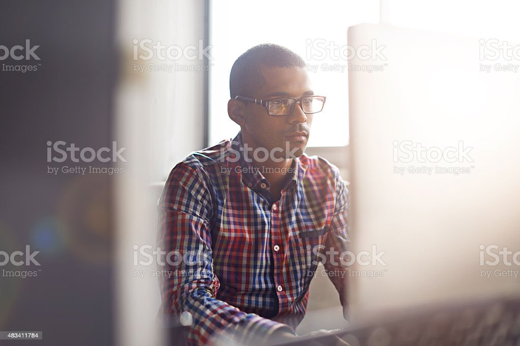 Staying informed online stock photo