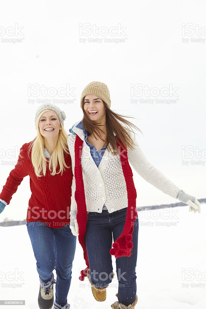 Staying warm in the snow royalty-free stock photo