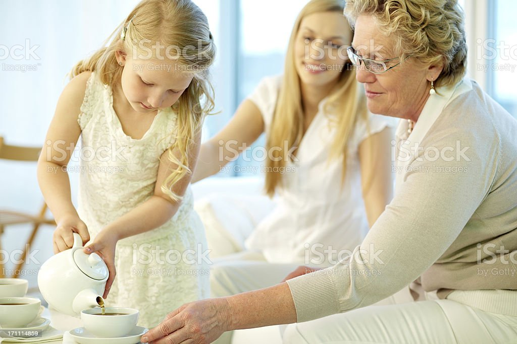 Staying with granny royalty-free stock photo