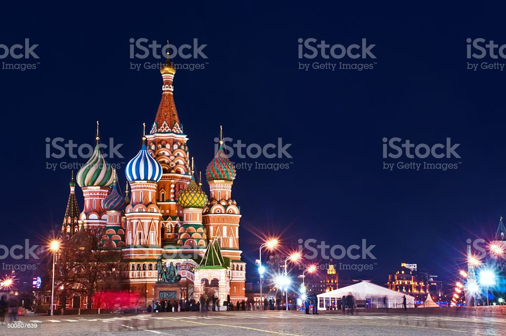 St.Basil Cathedral in Moscow Night view stock photo