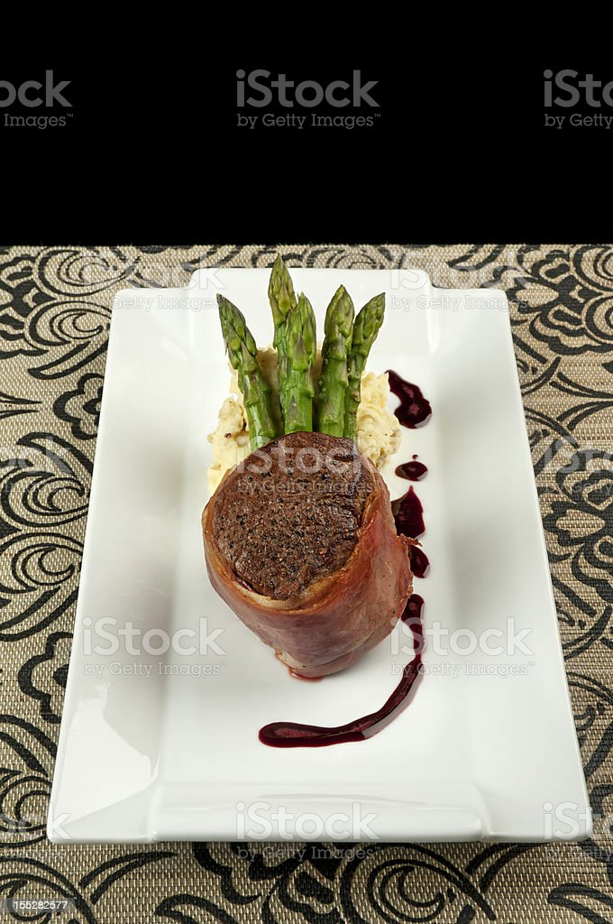Steak and asparagus with mashed potatoes royalty-free stock photo