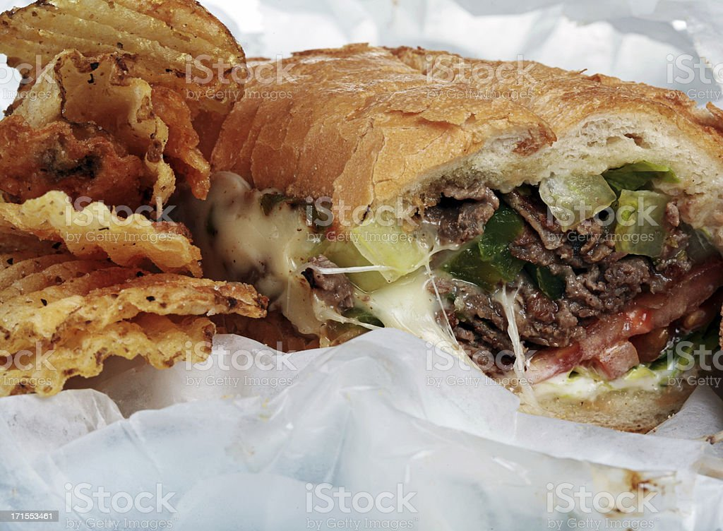 Steak and Cheese with Chips stock photo