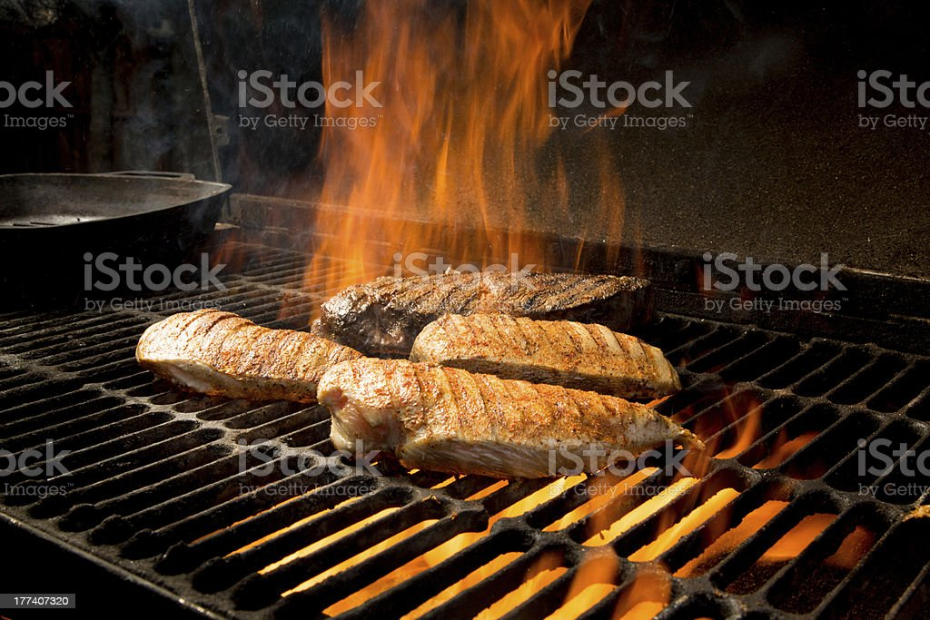 Steak and Chicken Breast Grilled over a Frame royalty-free stock photo