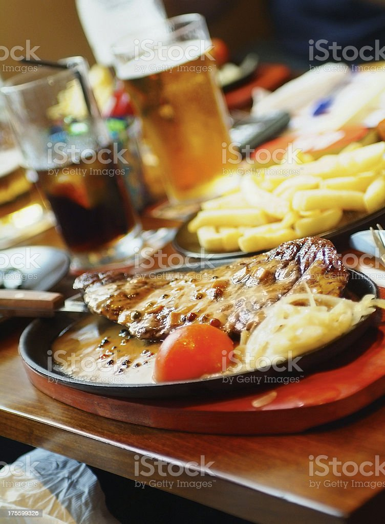 Steak and chips royalty-free stock photo