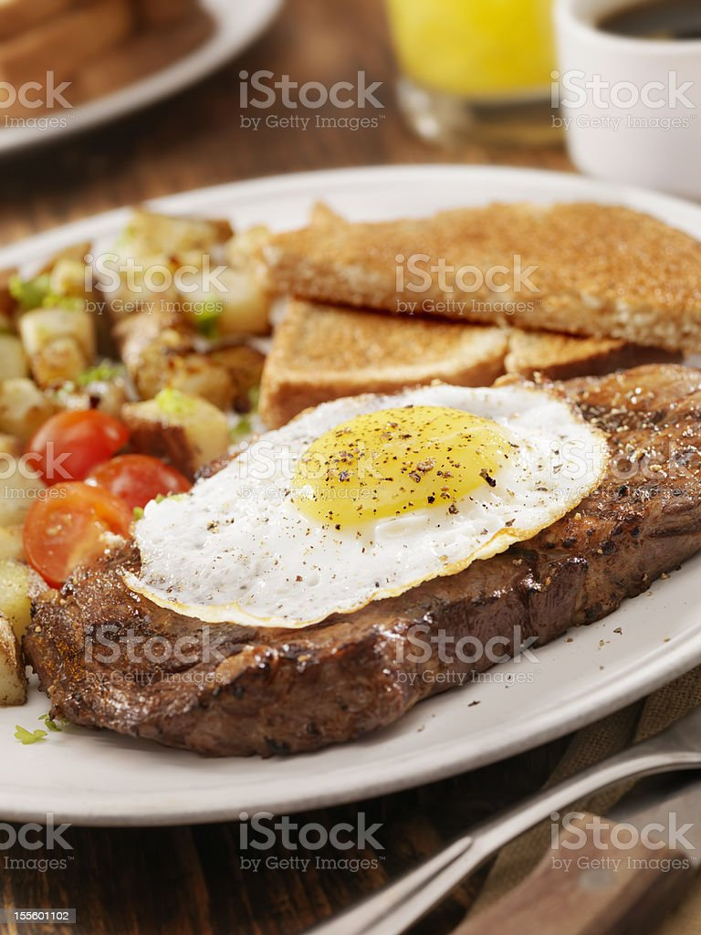 Steak and Eggs royalty-free stock photo
