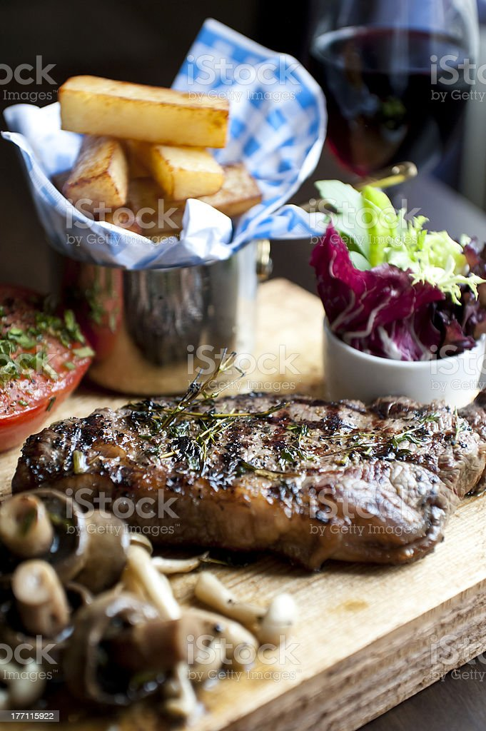 Steak and Fries meal royalty-free stock photo
