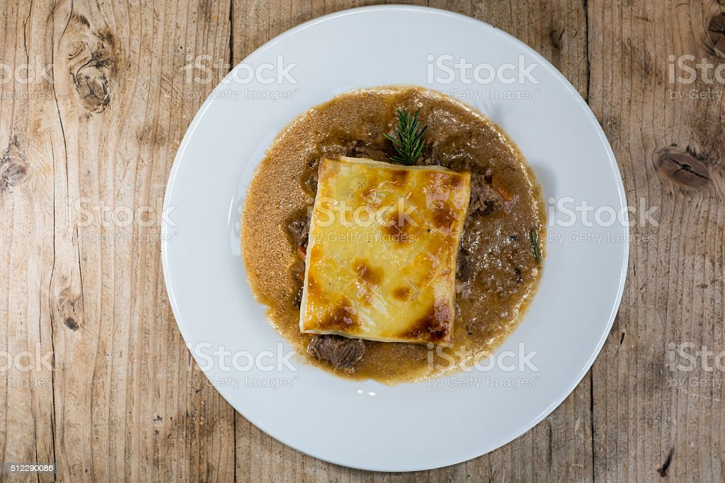 Steak and kidney pie from above stock photo