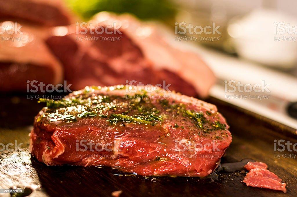 Steak and knife in restaurant stock photo