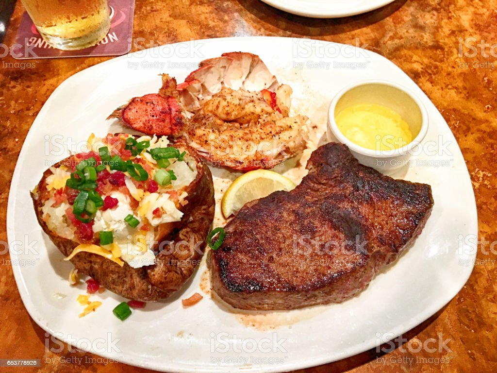 Steak and Lobster - Surf and Turf stock photo