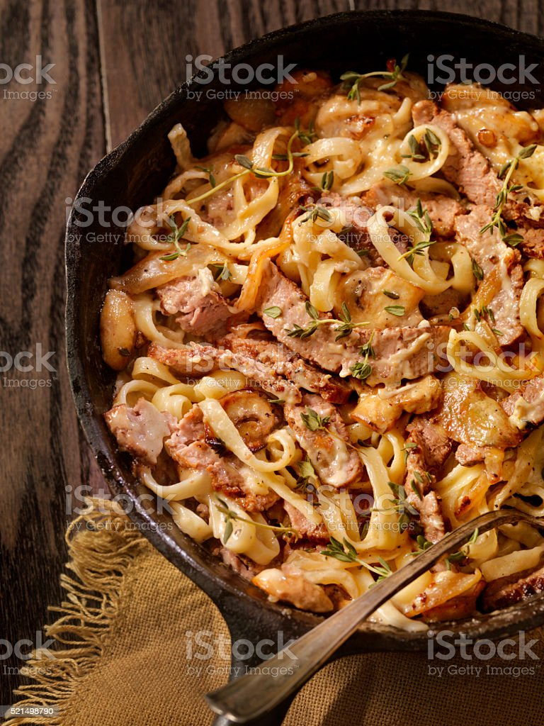 Steak and Mushroom Fettuccine stock photo