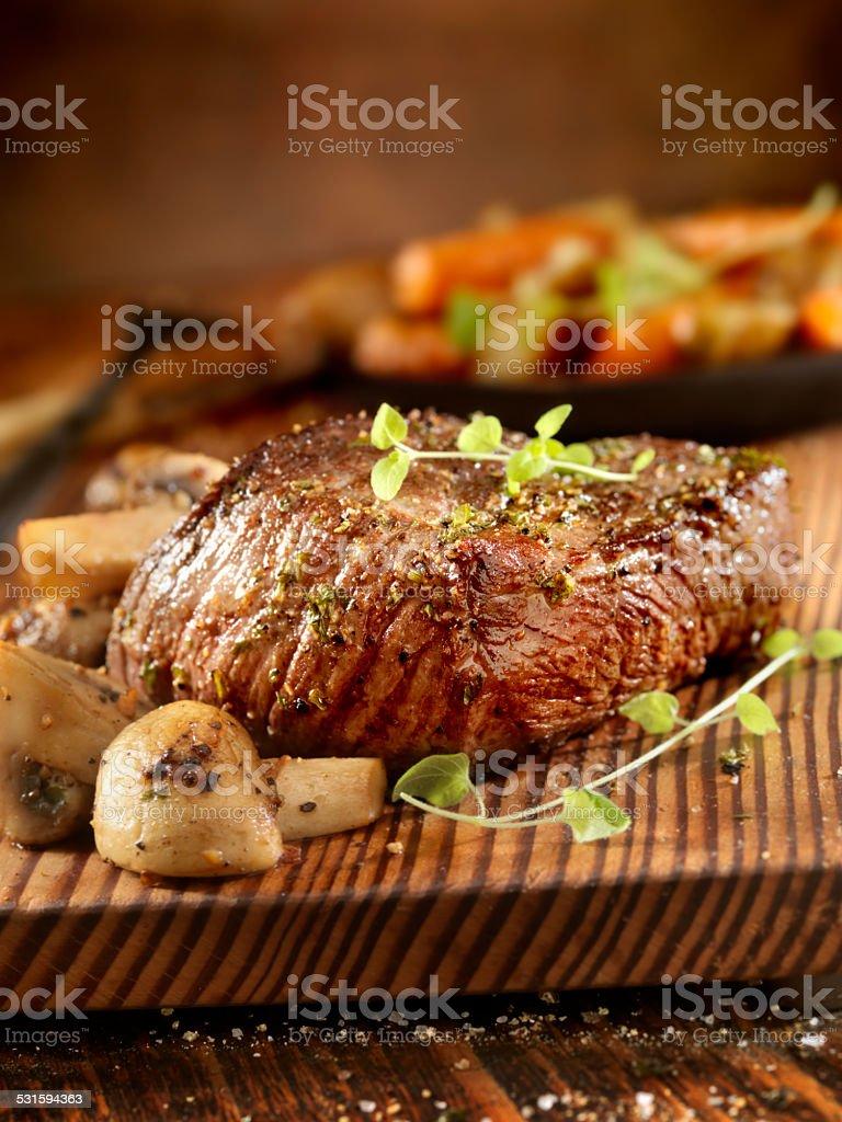 Steak and Mushrooms stock photo