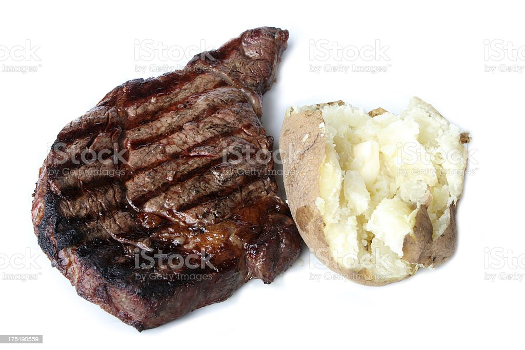 Steak and Potato with Butter royalty-free stock photo