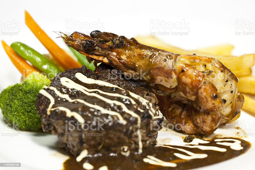 steak and prawn royalty-free stock photo